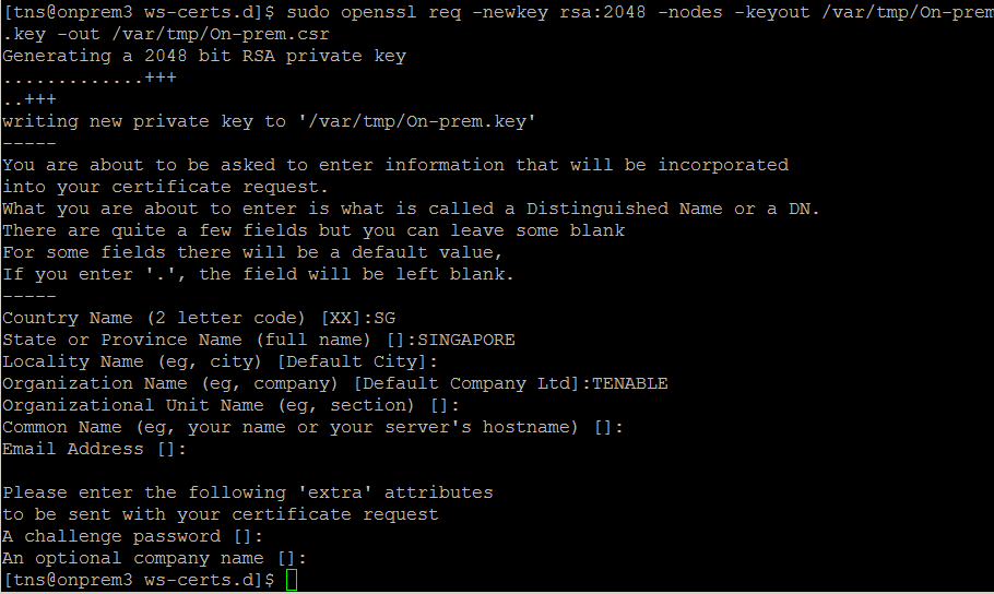Creating And Replacing Self Signed Certificate For Tenable Io On