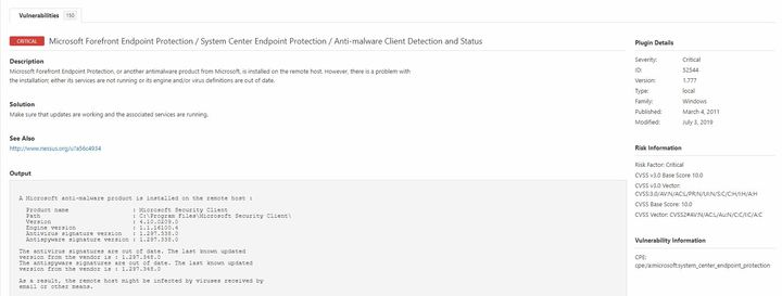 Plugin 52544 - Microsoft Forefront Endpoint Protection